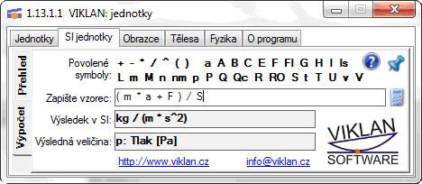 Náhled do programu VIKLAN JEDNOTKY - SI jednotky