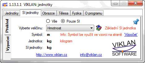 Náhled do programu VIKLAN JEDNOTKY - SI jednotky - základní přehled