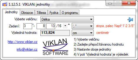 Náhled do programu VIKLAN JEDNOTKY - přepočet anglické na metrické délky