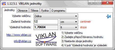 Náhled do programu VIKLAN JEDNOTKY - převod jednotek délky
