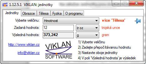 Náhled do programu VIKLAN JEDNOTKY - převod jednotek hmotnosti
