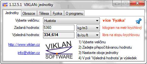 Náhled do programu VIKLAN JEDNOTKY - převod jednotek hustoty