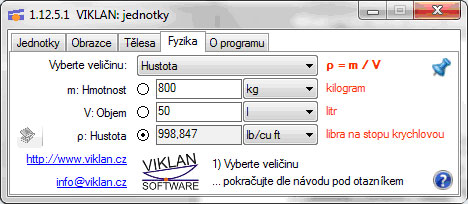 Náhled do programu VIKLAN JEDNOTKY - výpočet hustoty ve Fyzice