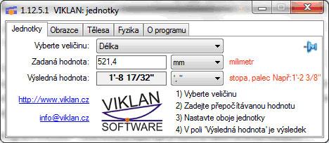 Náhled do programu VIKLAN JEDNOTKY - přepočet metrické na anglické délky