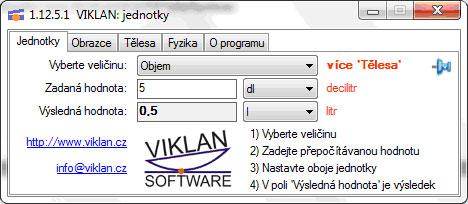 Náhled do programu VIKLAN JEDNOTKY - převod jednotek objemu