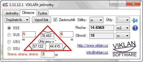 Náhled do programu VIKLAN JEDNOTKY - převod výpočty obrazců