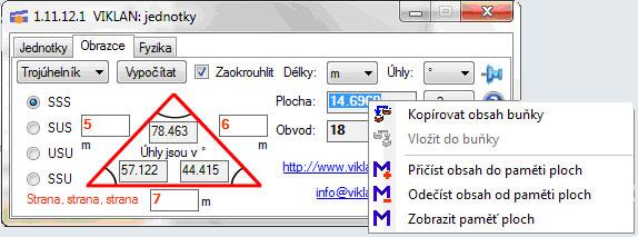 Náhled do programu VIKLAN JEDNOTKY - převod výpočty obrazců - kontextové menu