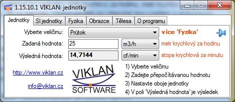 Náhled do programu VIKLAN JEDNOTKY - převod jednotek průtoku