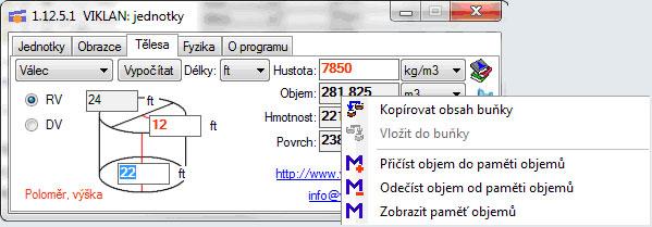 Náhled do programu VIKLAN JEDNOTKY - výpočty těles - kontextové menu