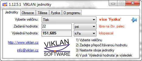 Náhled do programu VIKLAN JEDNOTKY - převod jednotek tlaku
