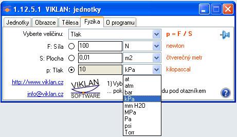 Náhled do programu VIKLAN JEDNOTKY - výpočet tlaku ve Fyzice